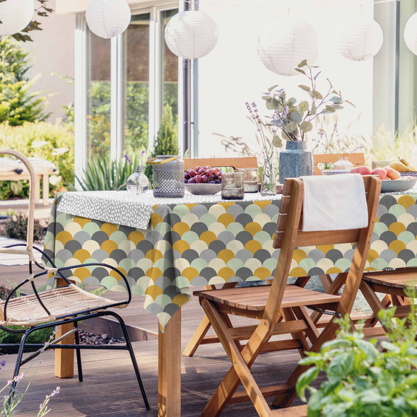 Outdoor Garden Tablecloth AVAILABLE IN 5 SIZES - Optional Centre Hole for Parasol - Scandi Hills Mustard
