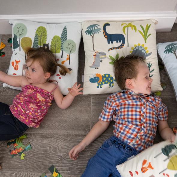 Children's Dinosaur Cushions - Dino Days Cream