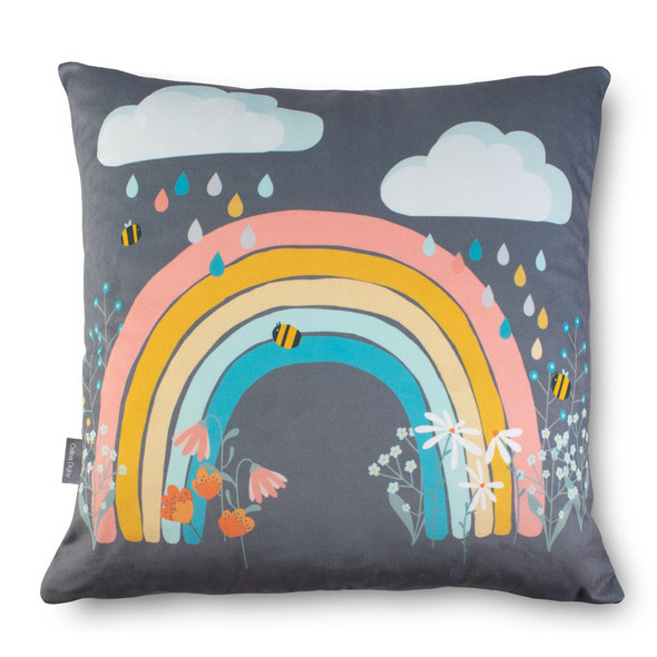 Children's Cushions - Bee a Rainbow Grey