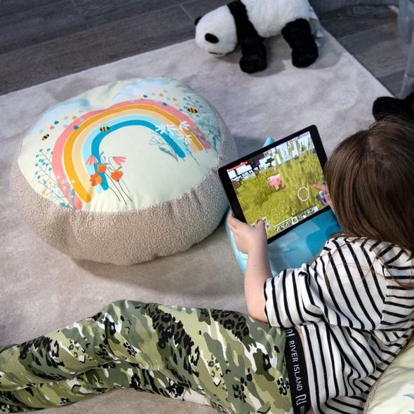 Children's Floor Cushion / Beanbag Seat - Bee a Rainbow Cream