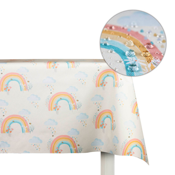 Children's Tablecloths - Bee a Rainbow Cream