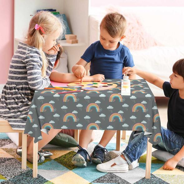 Children's Tablecloths - Bee a Rainbow Grey