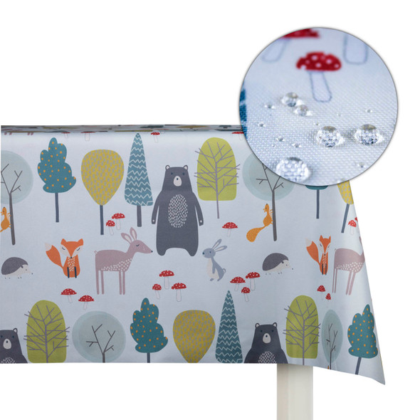 Children's Animal Tablecloths - Woodland Friends Blue