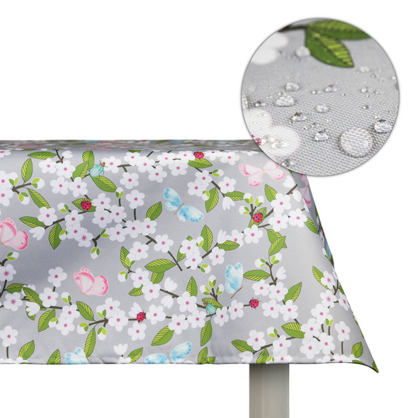 Waterproof Indoor Tablecloth - Cherry Blossom Grey