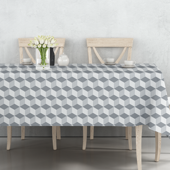 Waterproof Indoor Tablecloth - Cube Grey