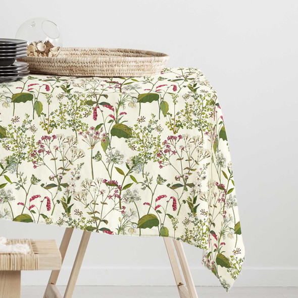 Waterproof Indoor Tablecloth - Welsh Meadow Cream