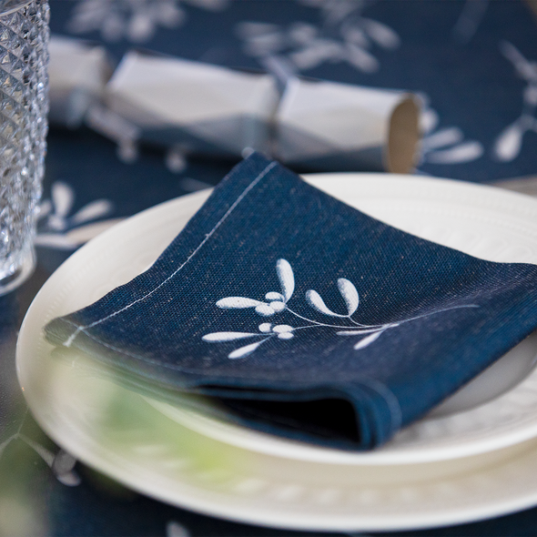 Christmas Napkins - Mistletoe Navy (37cm)