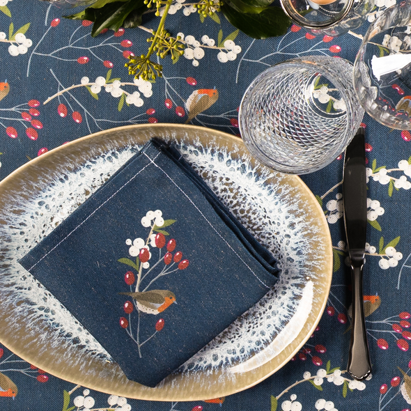 Christmas Napkins - Robin & Berries Navy (37cm)