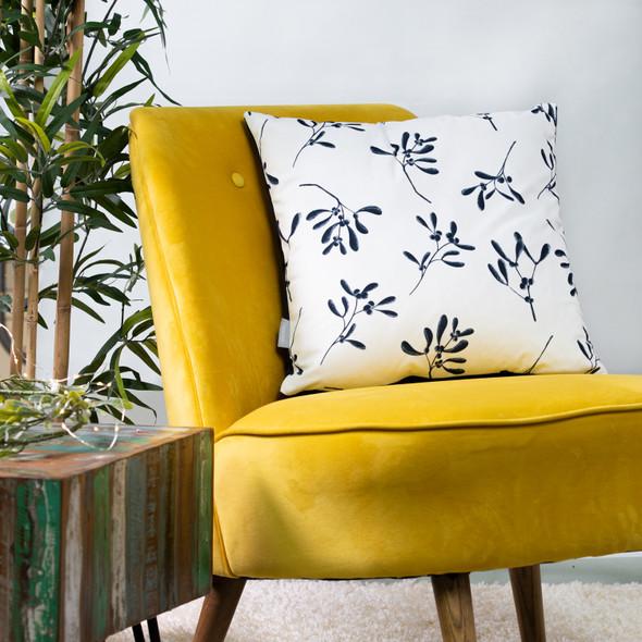 Luxury Christmas Velvet Cushions - Mistletoe White