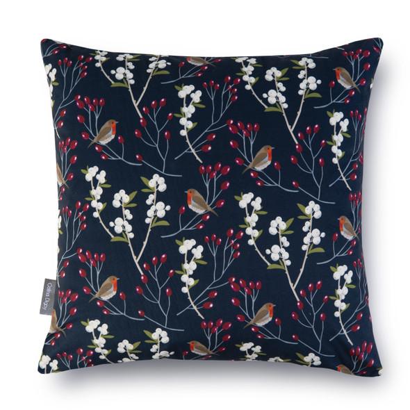 Luxury Christmas Velvet Cushions - Robin & Berries Navy