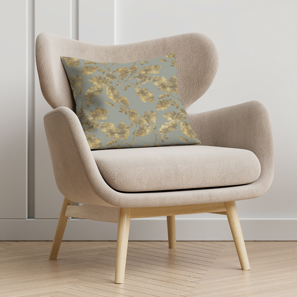 Opulent Velvet Cushion - Golden Oak Duck Egg