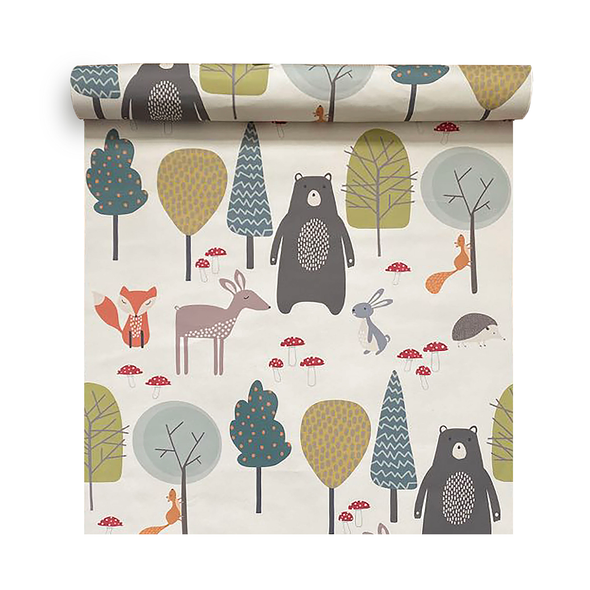 Children's Animal Wallpaper - Woodland Friends Cream