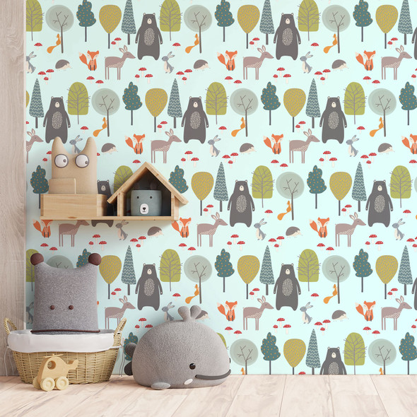 Children's Animal Wallpaper - Woodland Friends Blue