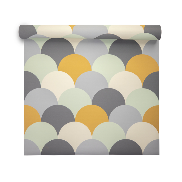 Geometric Wallpaper - Scandi Hills Yellow