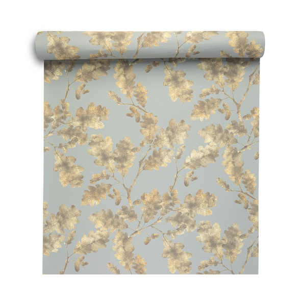 Woodland Wallpaper - Golden Oak Duck Egg