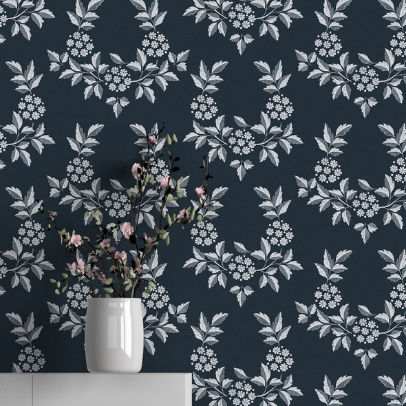 Floral Wallpaper - Elderflower Graphite