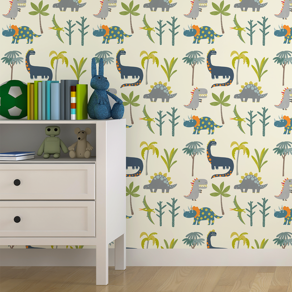 Children's Dinosaur Wallpaper - Dino Days Cream