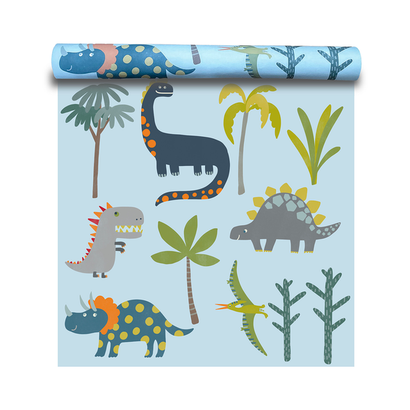 Children's Dinosaur Wallpaper - Dino Days Blue