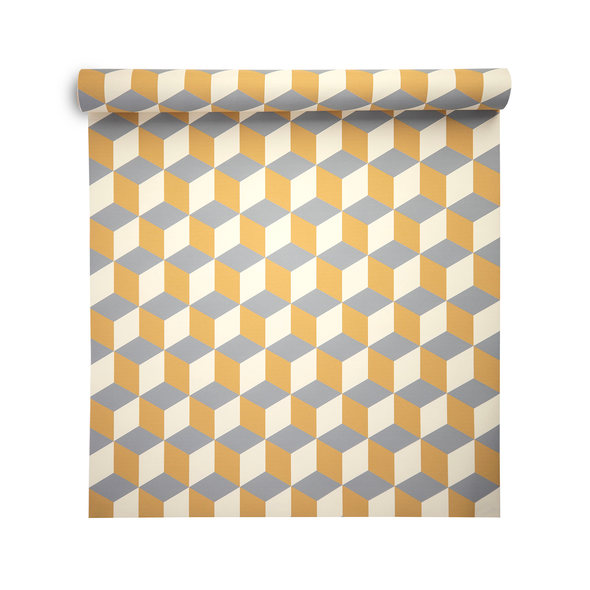 Geometric Wallpaper - Cube Yellow