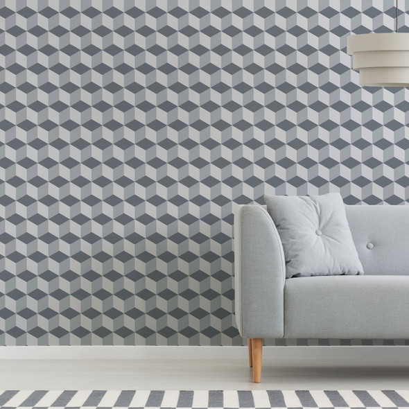 Geometric Wallpaper - Cube Grey