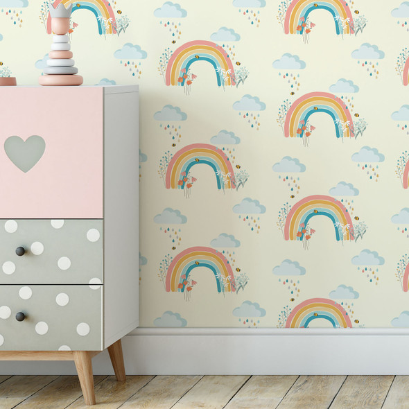 Children's Wallpaper - Bee a Rainbow Cream