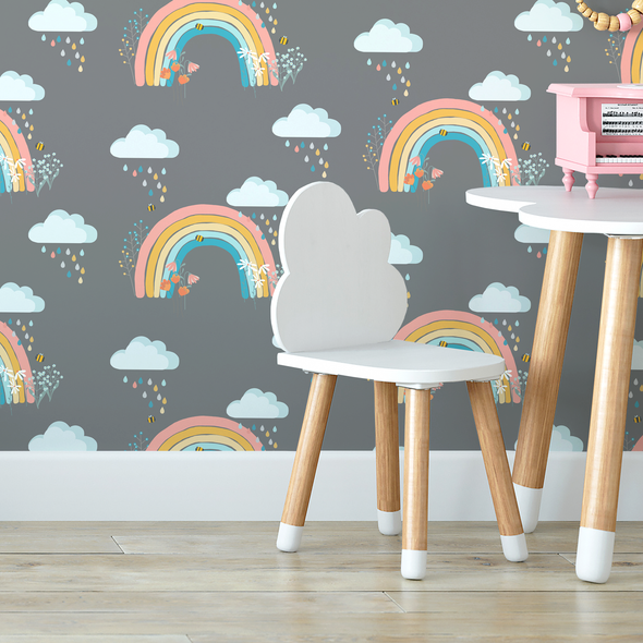 Children's Wallpaper - Bee a Rainbow Grey
