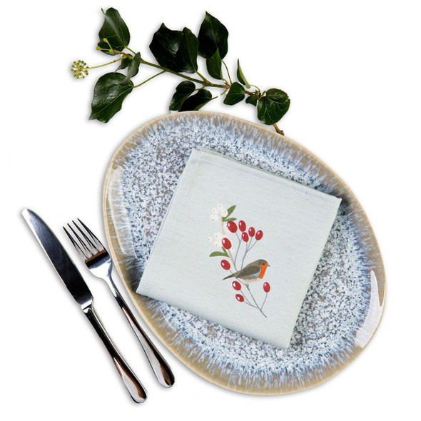 Christmas Napkins - Robin & Berries Light Grey (32cm)