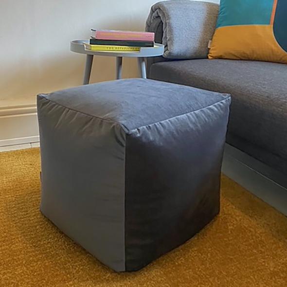 Velvet Cube Pouffe - Graphite Grey