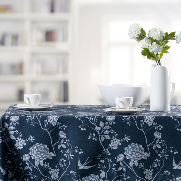 Celina Digby Luxury Eco-Friendly Recycled Fabric Tablecloth -  Cecylia Navy - Available in 6 Sizes