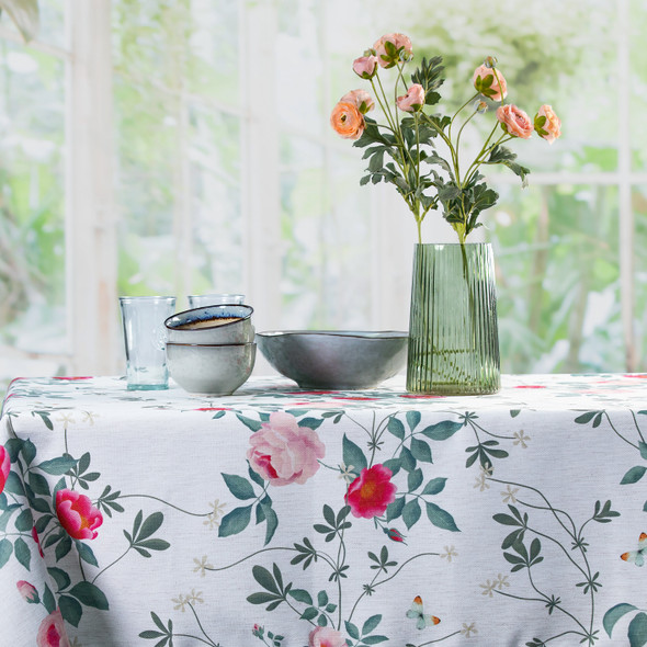 Celina Digby Luxury Eco-Friendly Recycled Fabric Tablecloth -  Rose Garden Natural - Available in 6 Sizes