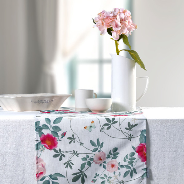 Celina Digby Luxury Eco-Friendly Recycled Fabric Table Runner - Rose Garden Natural - Available in 3 Sizes