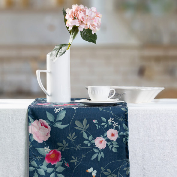 Celina Digby Luxury Eco-Friendly Recycled Fabric Table Runner - Rose Garden Navy - Available in 3 Sizes