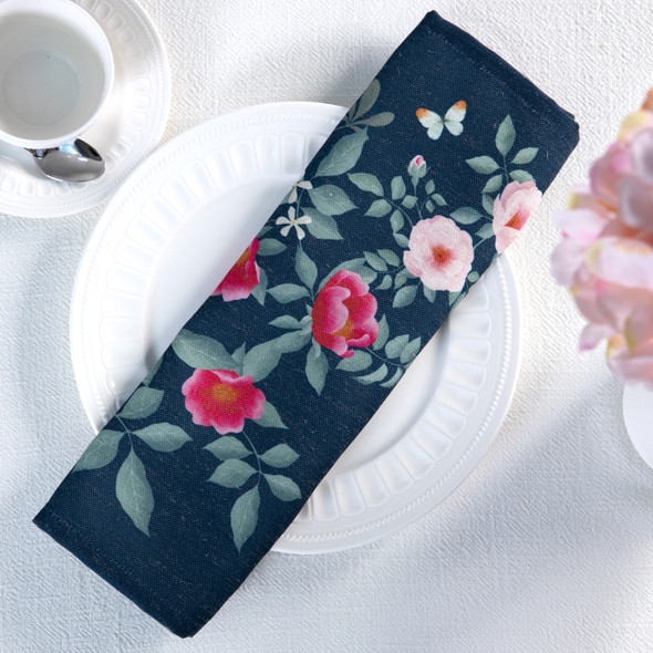 Celina Digby Luxury Eco-Friendly Recycled Fabric Napkin Sets - Rose Garden Navy - (40 x 40cm)