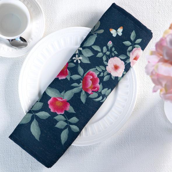 Celina Digby Luxury Eco-Friendly Recycled Fabric Napkin Set - Rose Garden Navy - (40 x 40cm)