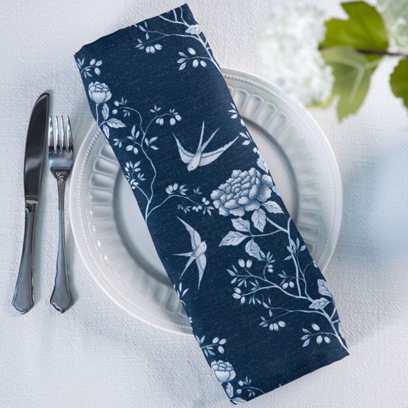 Celina Digby Luxury Eco-Friendly Recycled Fabric Napkin Set - Cecylia Navy - (40 x 40cm)