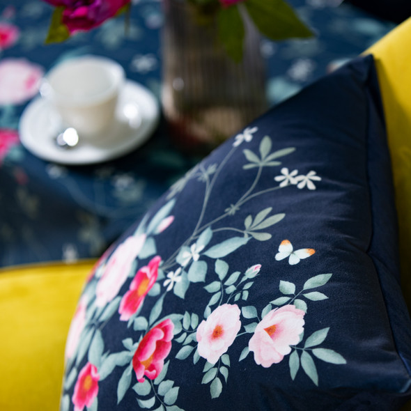 Opulent Velvet Cushion - Rose Garden Navy