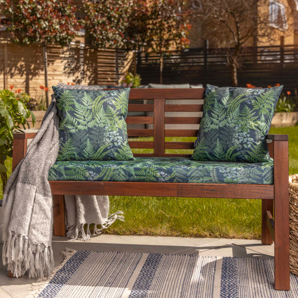 Water Resistant Garden Outdoor Bench Seat Pad - Ferns (Available in 2-Seater or 3-Seater Size)