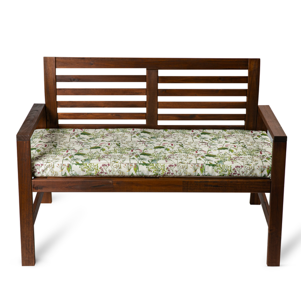 Water Resistant Garden Outdoor Bench Seat Pad - Welsh Meadow (Available in 2-Seater or 3-Seater Size)