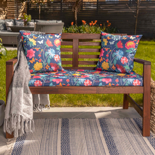 Water Resistant Garden Outdoor Bench Seat Pad - Midsummer Night (Available in 2-Seater or 3-Seater Size)