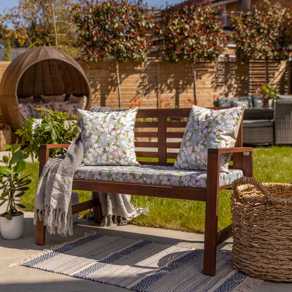 Water Resistant Garden Outdoor Bench Seat Pad - Cherry Blossom (Available in 2-Seater or 3-Seater Size)