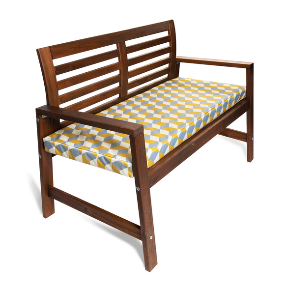 Water Resistant Garden Outdoor Bench Seat Pad - Cube Yellow (Available in 2-Seater or 3-Seater Size)