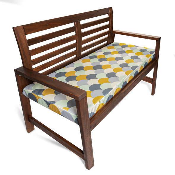 Water Resistant Garden Outdoor Bench Seat Pad - Scandi Hills (Available in 2-Seater or 3-Seater Size)