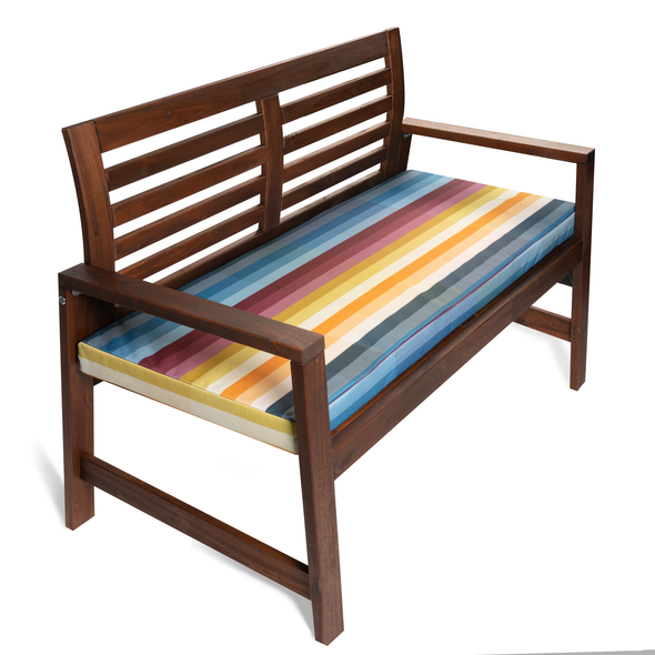 Water Resistant Garden Outdoor Bench Seat Pad - Pixel Stripes (Available in 2-Seater or 3-Seater Size)