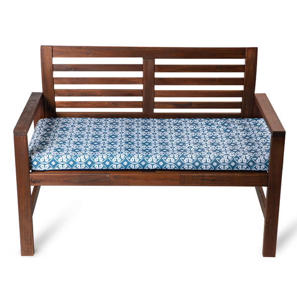 Water Resistant Garden Outdoor Bench Seat Pad - Casablanca Blue (Available in 2-Seater or 3-Seater Size)