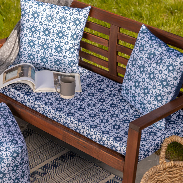 Water Resistant Garden Outdoor Bench Seat Pad - Casablanca Navy (Available in 2-Seater or 3-Seater Size)