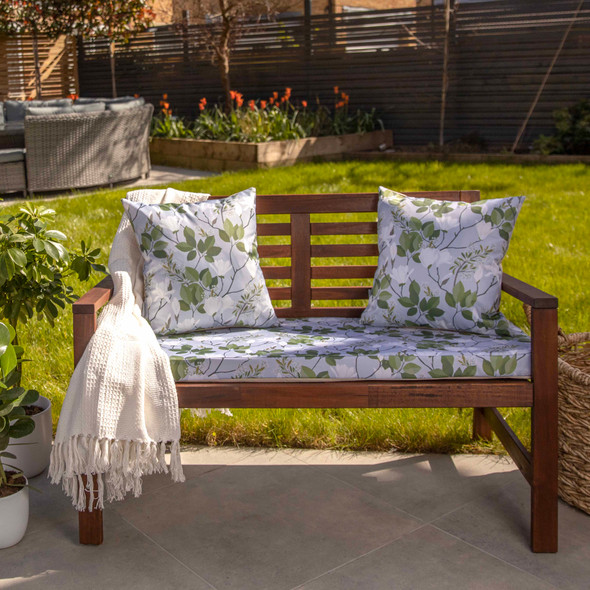 Water Resistant Garden Outdoor Bench Seat Pad - Magnolia Grey (Available in 2-Seater or 3-Seater Size)