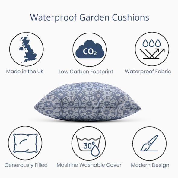 Water Resistant Garden Cushion - Casablanca Lilac/Blue