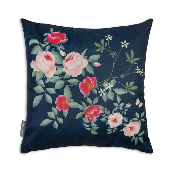 Water Resistant Garden Cushion - Rose Garden Navy