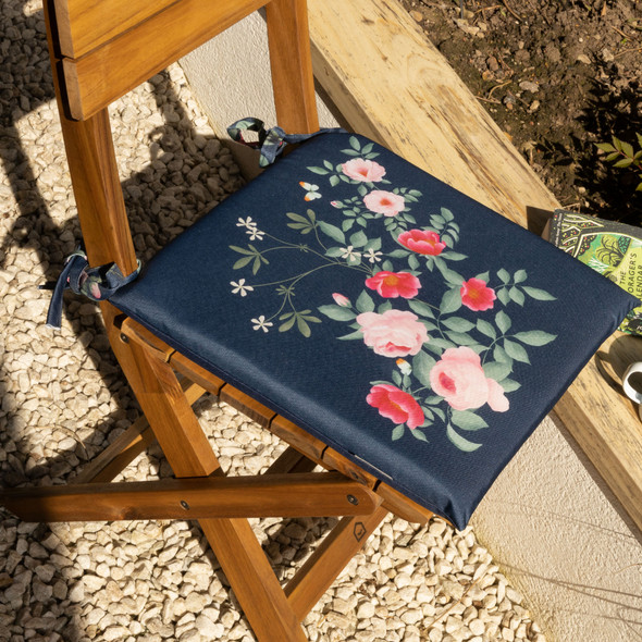 Set of 2 Water Resistant Garden Seat Pads - Rose Garden Navy