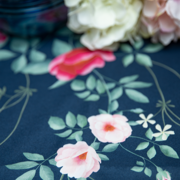 Outdoor Garden Tablecloth AVAILABLE IN 5 SIZES - Optional Centre Hole for Parasol - Rose Garden Navy